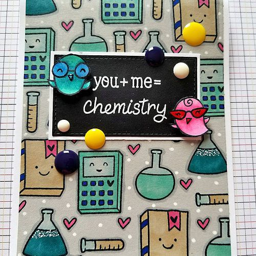 You + me = Chemistry... Made this fun card using @lawnfawn stamp and colored the background images using copics. Got inspired by @yana.smakula cards videos. Just loved her idea and had to try. Happy with how the card turned out.  #handmadecards #ca | by Urviparikh2016