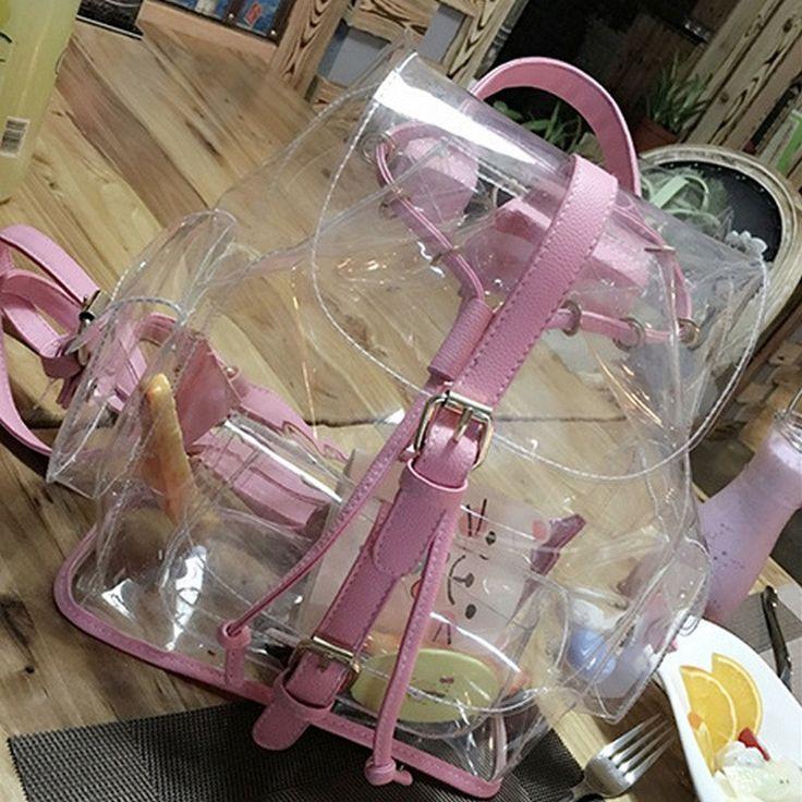 Hot Hot Hot!! Super Chic Cool 2016 Transparent Messenger-Style Jelly Shoulder Backpack 2 Colors