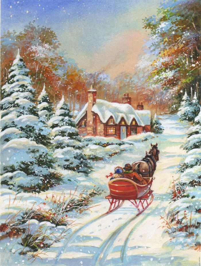 зимняя новогодняя картина рисунок улочкам