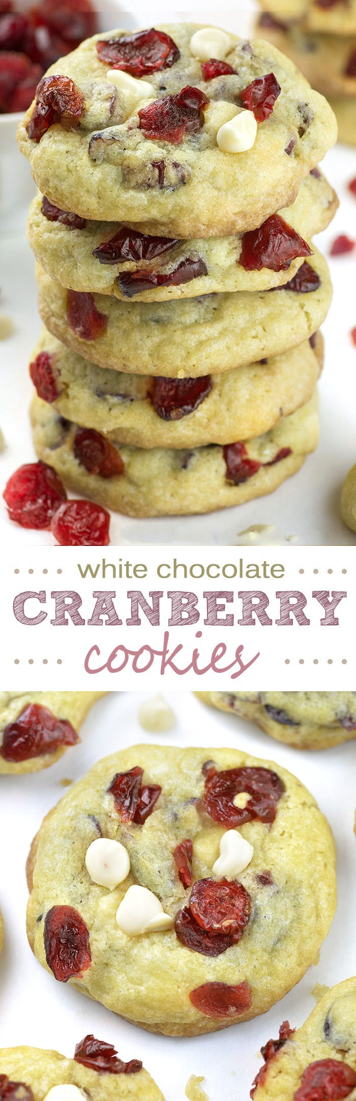 White Chocolate Cranberry Cookies - imagine a bunch of sweet and tangy dried red cranberries and white chocolate chunks held together with rich and buttery cookie dough. WOW!