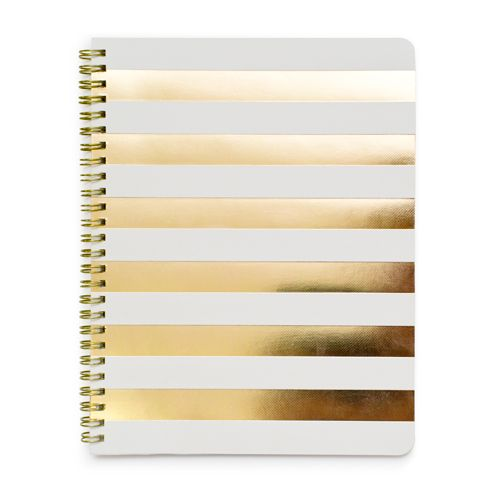Buy cheap white notebook and buy gold paper from Joannes and bam! diy notebook. Can put golden dots instead:
