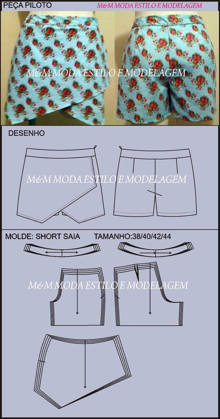 M&M   Moda,Estilo e Modelagem...: SHORT SAIA 02