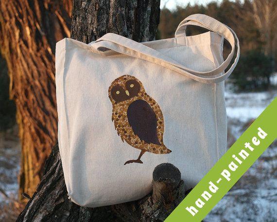 owl Owl Tote Bag Owl Bag Canvas Bag Owl Art Owl Tote by tsomoriri