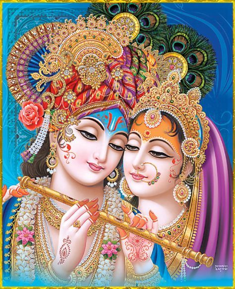 """✨ RADHA KRISHNA ✨Artist: Yogendra Rastogi""""By performing congregational chanting of the Hare Krishna mantra, one can destroy the sinful condition of material existence, purify the unclean heart and awaken all varieties of devotional service.""""~Chaitanya Charitamrta Antya 20.13"""