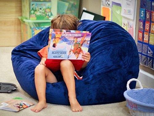 Navy Blue Cuddle Soft Minky Fur Washable Large Bean Bag Chair