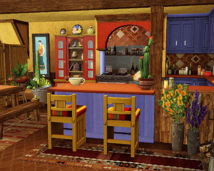 Traditional Mexican Kitchen Its A Beautiful And Colorful Picture Depicting Traditional Mexican Design In A