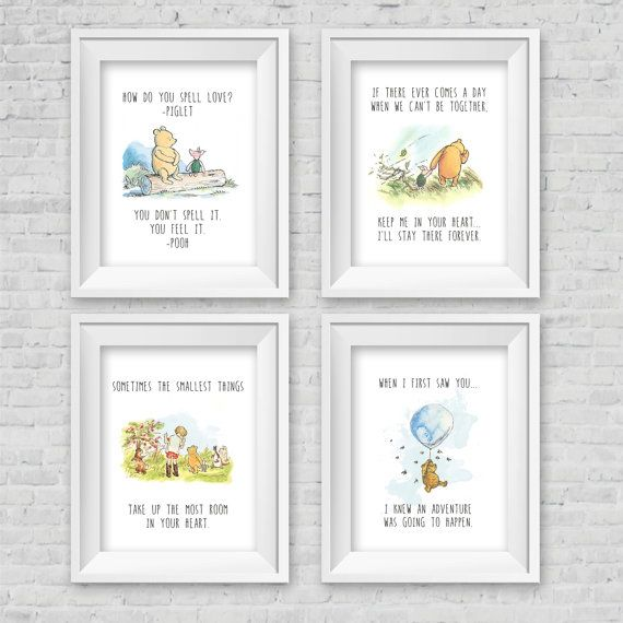 Classic Winnie The Pooh Nursery/Birthday Party/Baby Shower Wall Art INSTANT DOWNLOAD