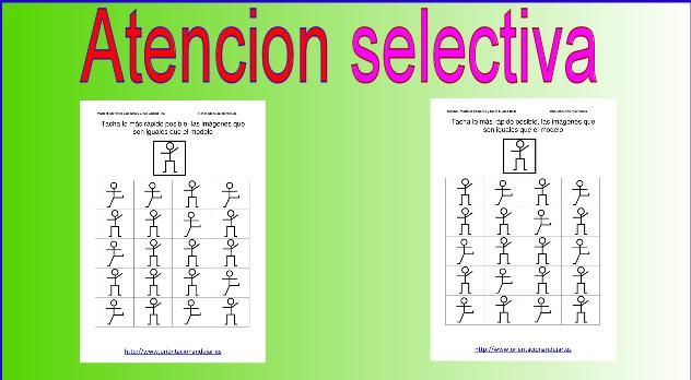 Trabajaremos la Discriminación visual y la atención selectiva El niño debe encontrar todos aquellos elementos iguales a los propuestos (letras, sílabas, palabras, números, dibujos,…), de entre un conjunto de ellos …