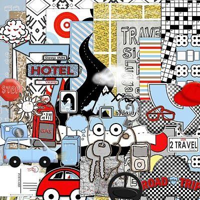 """""""Road Trip"""" FREE Digital Scrapbooking Mega Kit"""