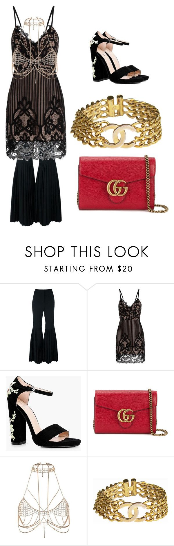 """""""black dress"""" by coolsoniccat on Polyvore featuring STELLA McCARTNEY, Boohoo, Gucci, River Island and Chanel"""