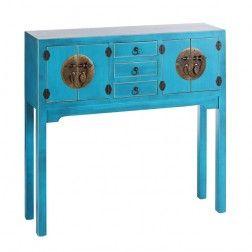 Mueble chino consola azul oriente 4 puertas muebles for Muebles asiaticos online