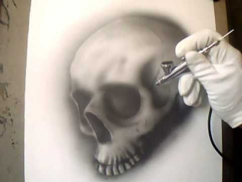 "Airbrush for beginners ""how to airbrush a skull"""