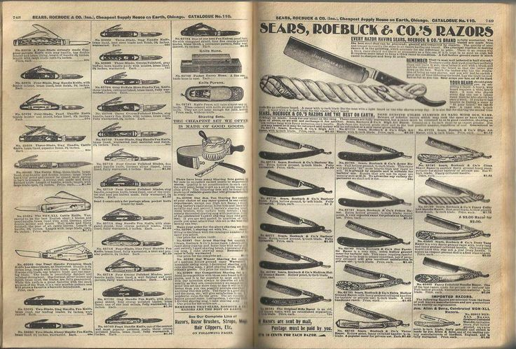 Fall 1900 Sears & Roebuck Catalog Ad for Straight Razors  - http://earth66.com/vintage/fall-1900-sears-roebuck-catalog-straight-razors/