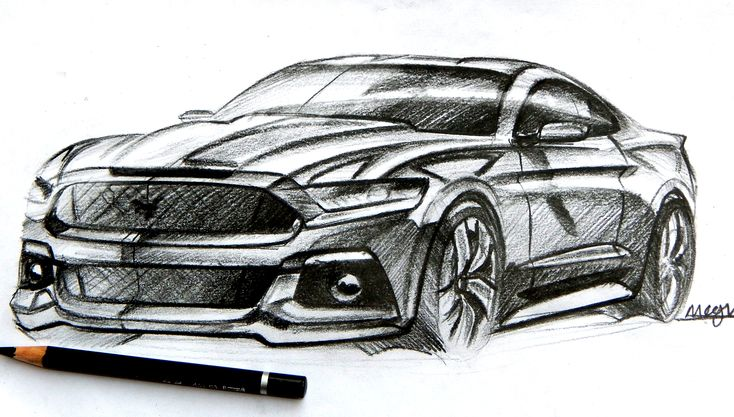 ford mustang pencil sketch