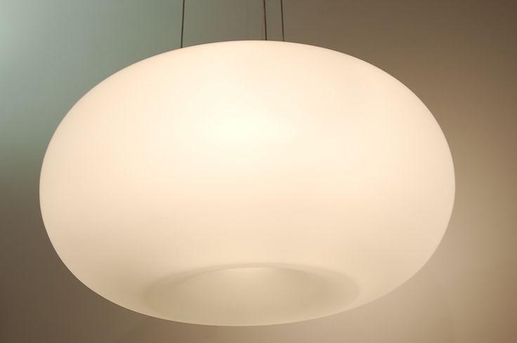 hanglamp  70597: modern, glas, wit opaalglas, wit, mat, rond ...  rietveld