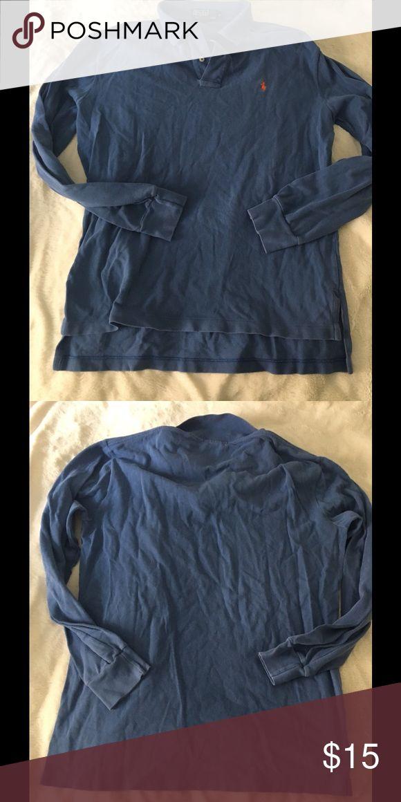Ralph Lauren Polo Blue Long Sleeve Polo Blue polo with orange polo emblem Polo by Ralph Lauren Shirts Polos
