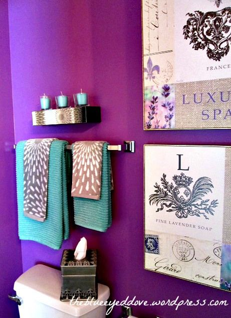 Purple Bathroom - decorating with purple, turquoise and gray. A great color combination! theblueeyeddove.com