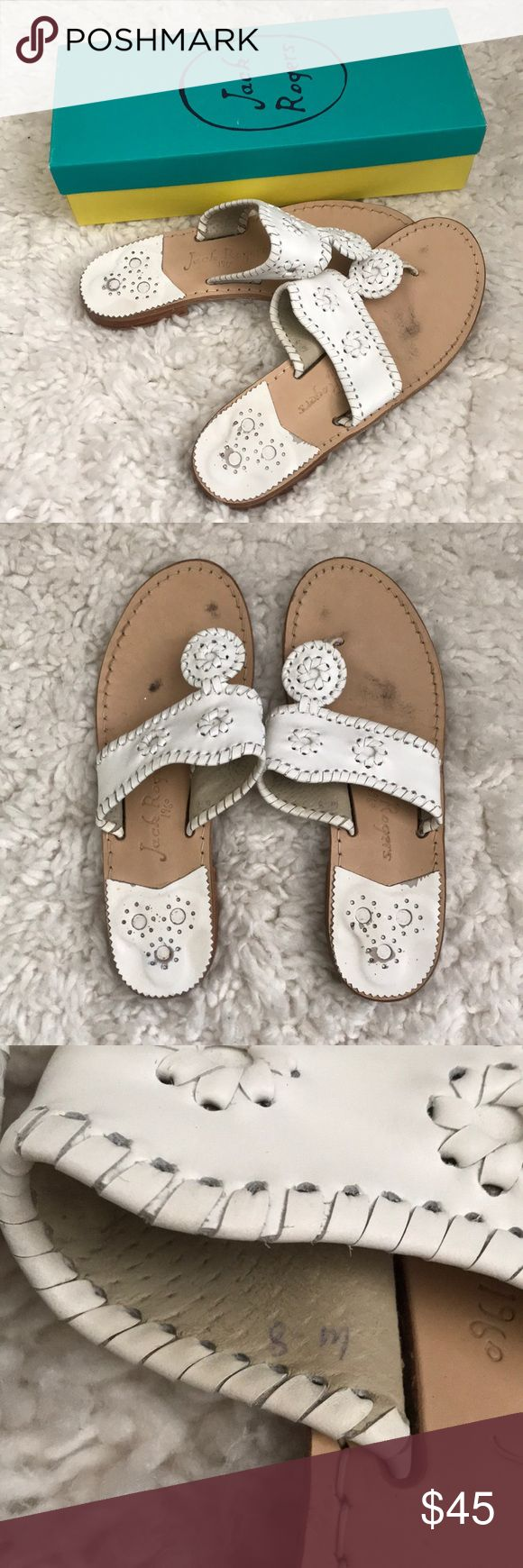 [Jack Rogers] White palm beach sandals flip flops These are worn and broken in but in great condition. They do come with the box. They are size 8-M.  *NO modeling* Jack Rogers Shoes Sandals