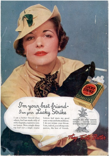 Vintage cigarette advert from an article on the history of tobacco advertising.