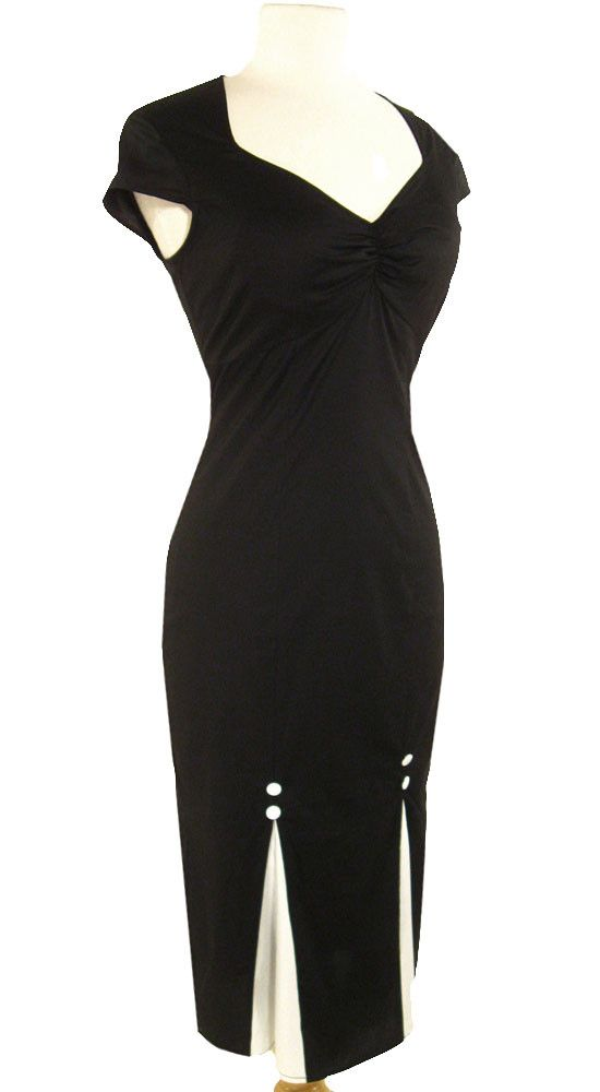 Black Rockabilly Pinup Dress with Kickpleats! Sizes 16 only!*