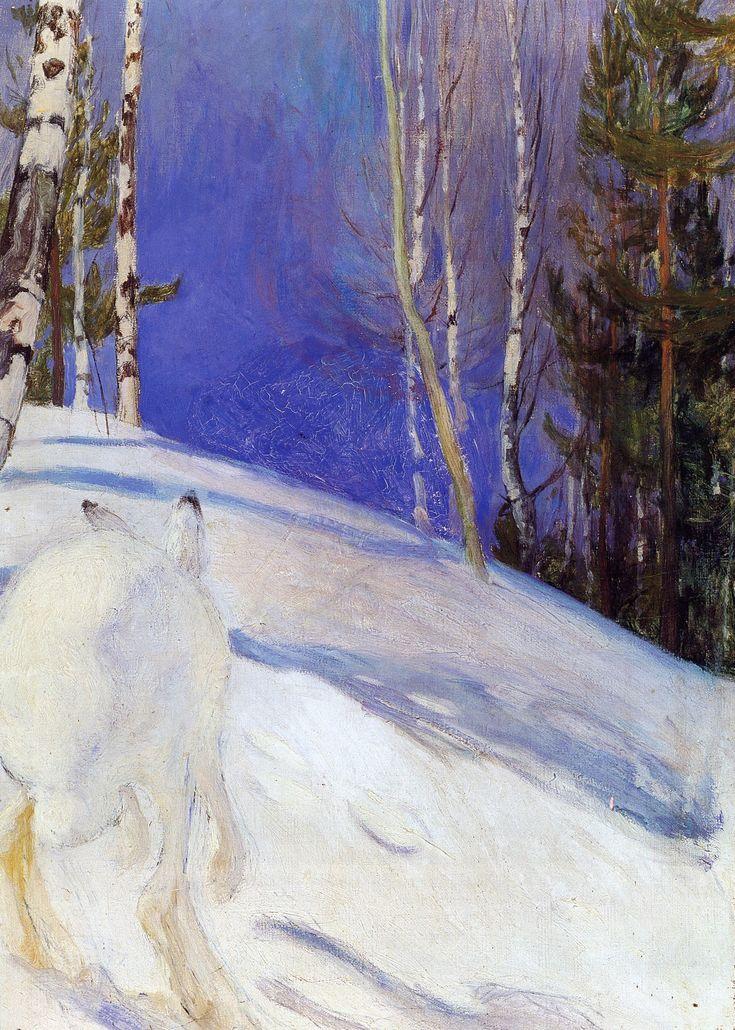 """Pekka Halonen  (Finnish, 1865 – 1933)  """"hare in snow"""""""