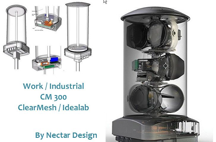 Clear Mesh CM 300 is a thermal regulation system, designed by Nectar Design that gives a fiber-grade wireless mesh broadband networking system to laying hard fiber to carry high-quality voice, data, and video services.