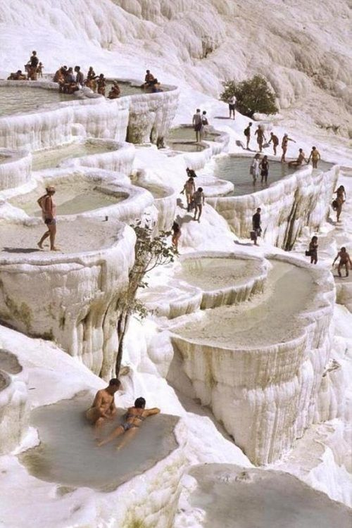 The natural rock pools in Pamukkale, Turkey.  I've had a  magazine pic of this place for at least 10 years... I want to visit!
