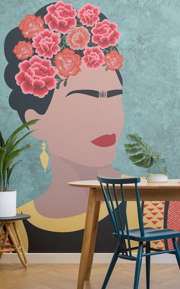 Frida Kahlo Portrait Floral Wallpaper Mural Art And