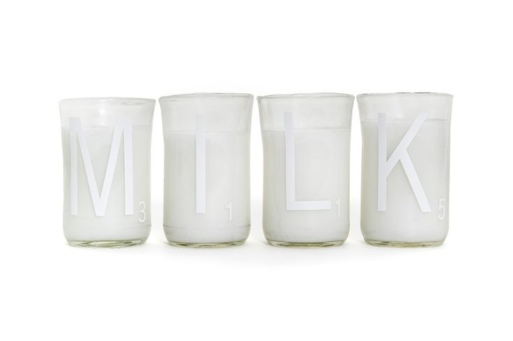 Milk Scrabble Tumblers- Upcycled glasses