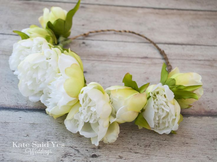 Flower Crown, Peony Flower Crown, Peony Crown, Wedding Crown, Hair Wreath, Bridal Crown, Flower Girl Crown by Kate Said Yes