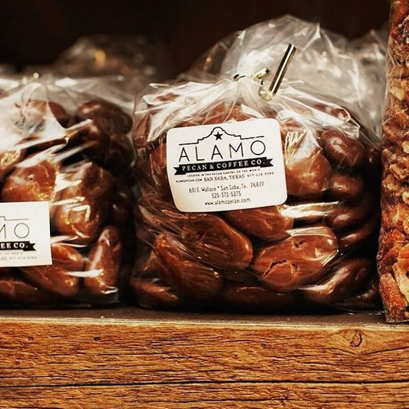 Real #Texas pecans covered with chocolate, flavored, candied, savory, spicy - you name it! We have it all. #Texas pecan capital San Saba. Visit us online or stop by Alamo Pecan & Coffee shop