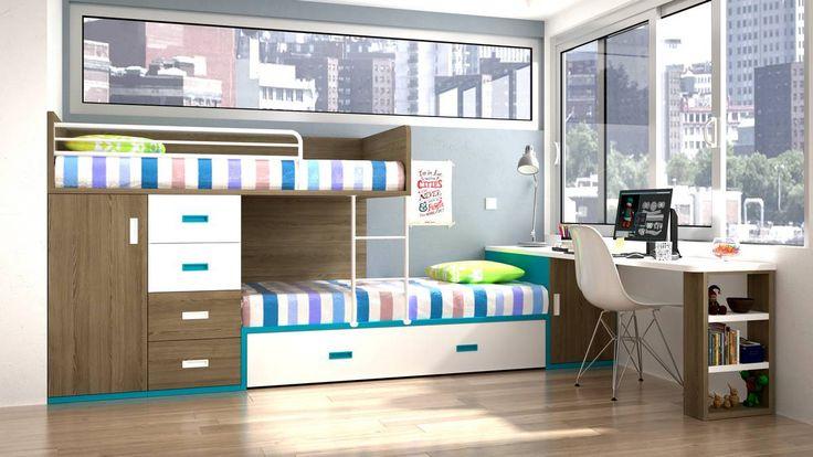 Dormitorio juvenil con camas tren.