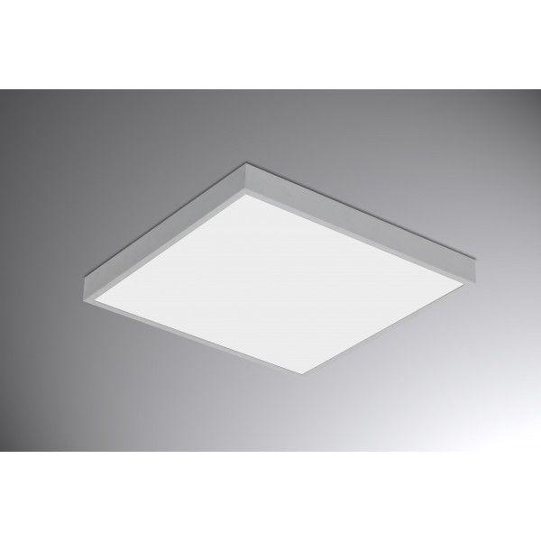 Plafon semi embutido quadrado, grande, para 8 lâmpadas, branco total,  Medidas: 48,5x48,5x13,5cm, Nicho: 47,6x47,6cm,  Material: Alumínio e acrílico