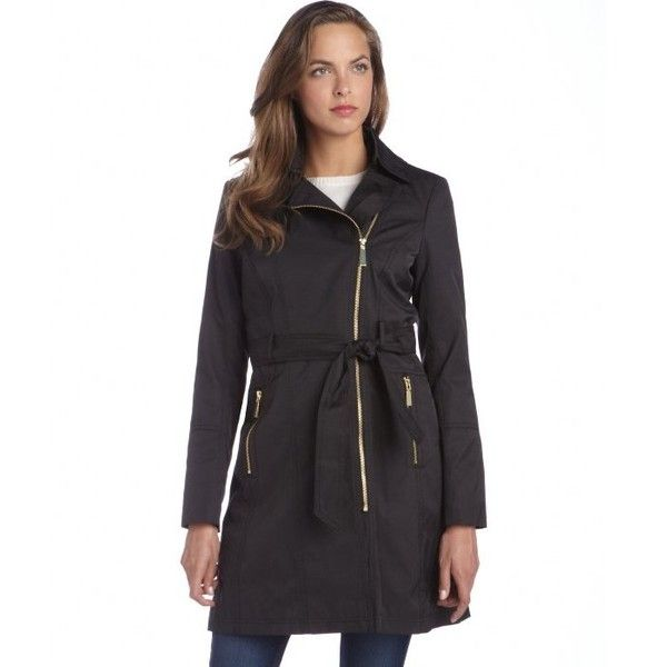 Vince Camuto Black cotton blend zip front hooded removable liner trench coat and other apparel, accessories and trends. Browse and shop related looks.