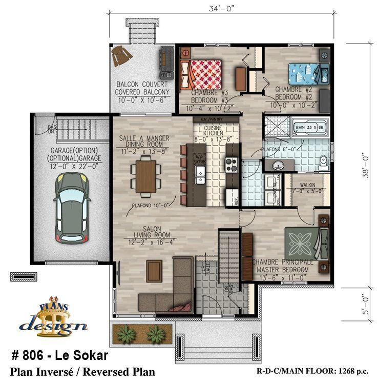 plan maison passive plain pied plan de plainpied chambres maison conomique champtre with plan. Black Bedroom Furniture Sets. Home Design Ideas