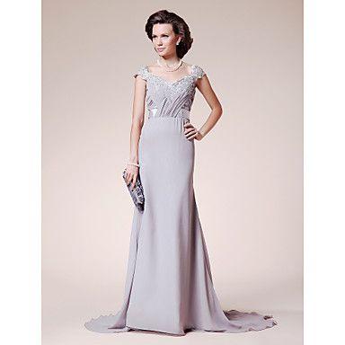 A-line+Straps+Court+Train+Chiffon+Lace+Mother+of+the+Bride+Dress+–+AUD+$+116.87