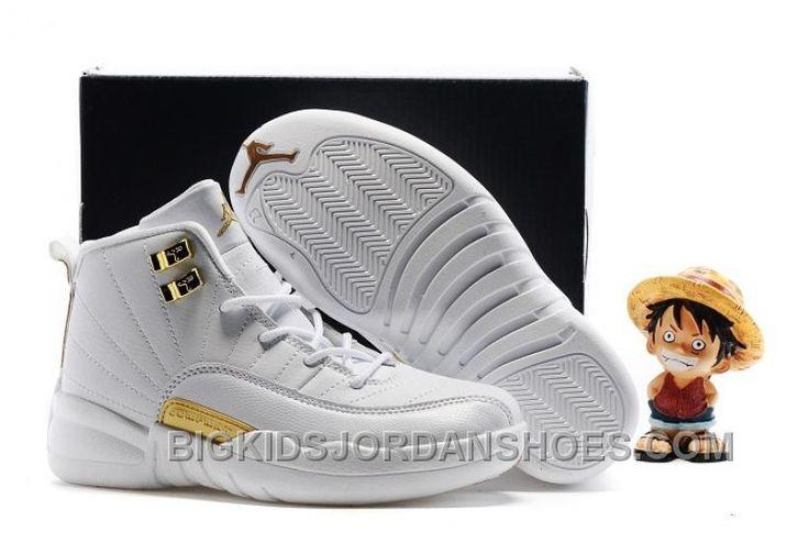http://www.bigkidsjordanshoes.com/kids-air-jordan-12-all-white-gold.html KIDS AIR JORDAN 12 ALL WHITE GOLD NEW Only $52.24 , Free Shipping!