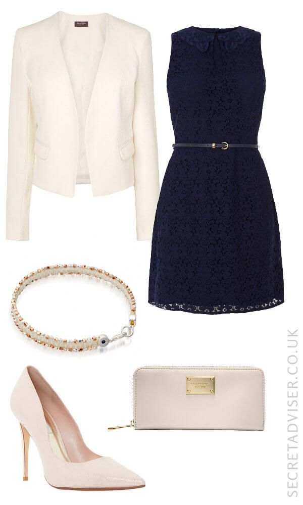 Navy dress with cream accessories outfit idea. try wearing gold Worth jacket with black dress complete with my gold jewelry ????