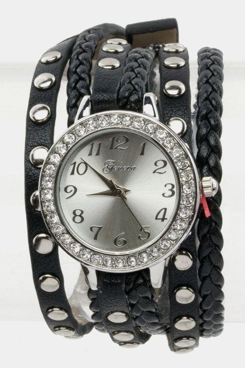 Wrap Around Watch (Black/Silver) - $28