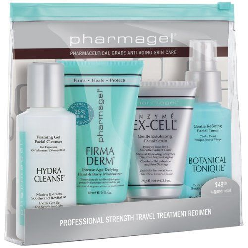 Pharmagel Daily Express Regimen 4 Piece Kit by Pharmagel. $33.00. Great anti-aging regimen.. Good for all skin types.. Includes: Pharmagel Hydra Cleanse (3 fl. oz.), Botanical Tonique (3 fl. oz. ), Firma Derm (3 fl. oz.), Enzyme Ex-Cell (2.5 oz.). Perfect for travel.. Pharmagel Daily Express Regimen provides gentle cleansing, toning, firming and anti-aging protection in one convenient kit. Hydra Cleanse is a mild foaming cleanser that sweeps away pore-clogging...