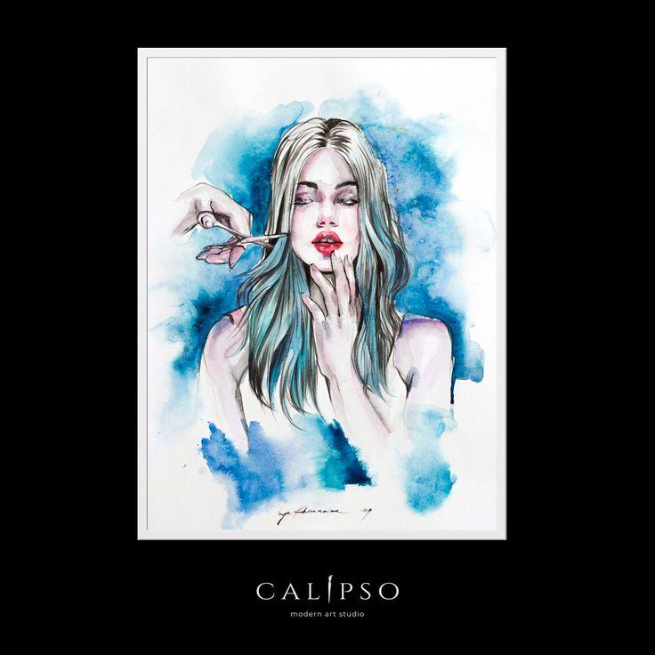 original art modern woman painting 132IN% akt zeichnung erotik kunst watercolor  #Modern