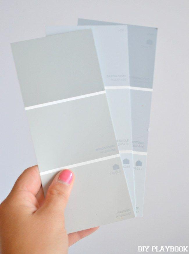 γκρι δείγματα χρωμάτων βαφής για το σπίτι σας