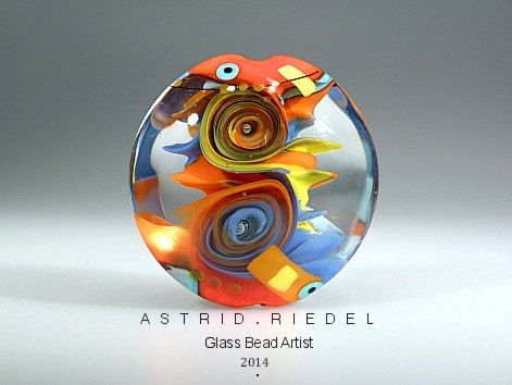 deeply dippy glass lampwork focal bead by