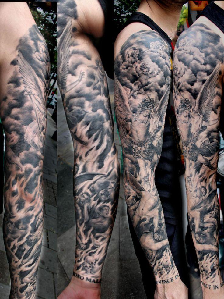 heaven and hell realistic tattoo by Mirek vel Stotker,Stotker Tattoo , London