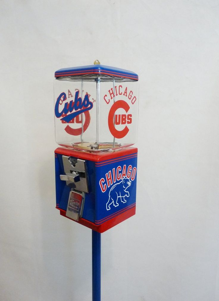 "Vintage Northwestern Gumball Vending Machine,  completely restored and themed to   Chicago Cubs                                                     This Machine is all metal  complete with all original components including: * Machine Base & Body red and blue * glass globe  * 25 ¢ Coin Mechanism * Lock and Key * Original nuts/candy Wheel * all metal stand  *   Vinyl Decals and Vinyl Letters to match theme all metal   The machine measures approx. 42"" Tall"