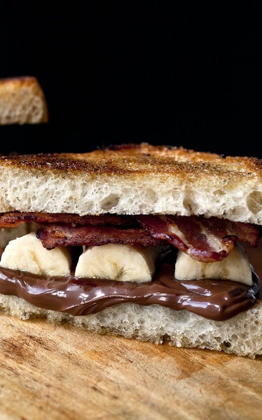 Michael Symon's Grilled Bacon Chocolate-Hazelnut Sandwich #michaelsymon #bacon #chocolate #sandwich #recipe #food #thechew