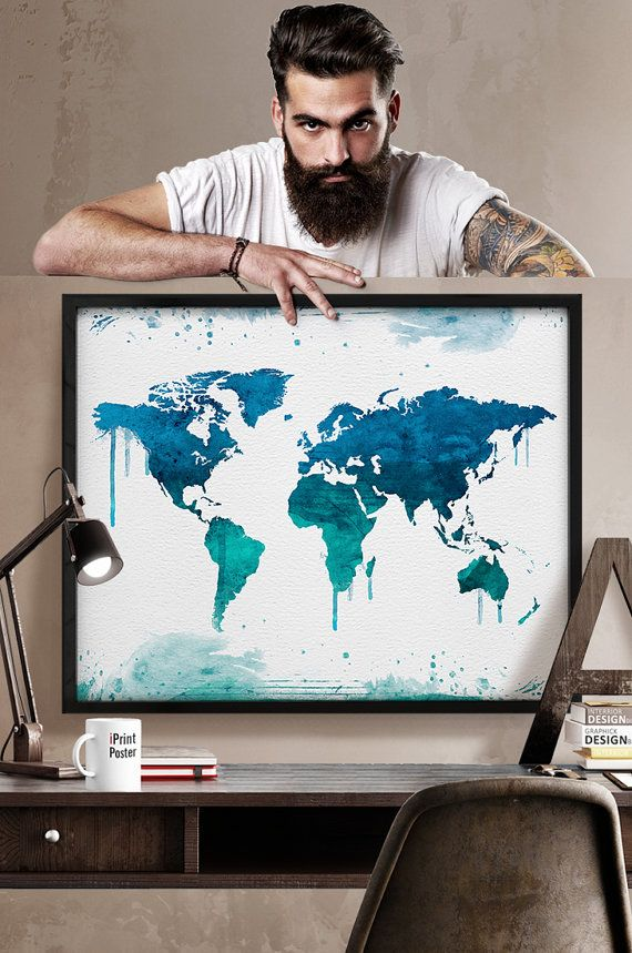 World map, large world map, watercolor world map, watercolor world map, World map poster, guest book map, wall art, Home Decor, iPrintPoster