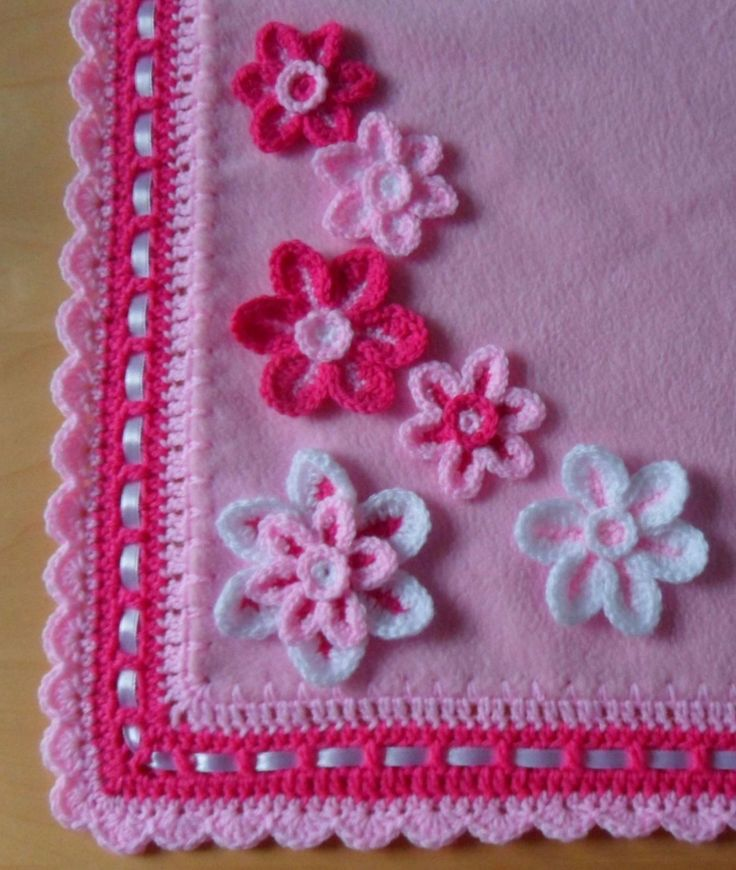 UNIQUE Hand Crocheted and Soft Fleece Baby Blanket with Flowers & Butterfly-Pink