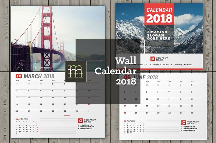 Wall calendar for 2018 year. Fully editable layered InDesign template