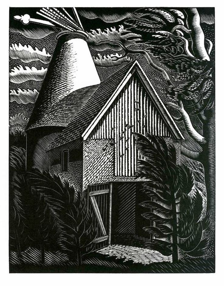 """Wind Storm"" by Eric Ravilious (wood engraving)"
